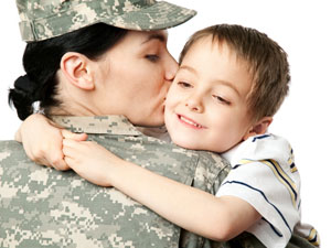military mom with son