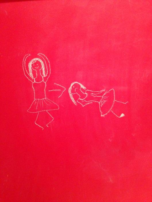 chalk drawing of ballerina