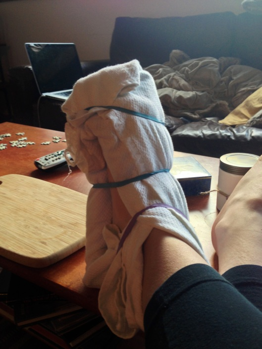 foot wrapped in ice pack